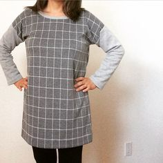 """My #hemlocktee dress in action. Lengthened by 5"""" and made in a soft ponte knit. @msbrewbrew #grainlinestudio by jenndumon"""