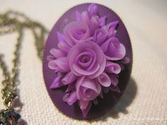 purple clay flower pendant cabochon  Oksana Nitkina