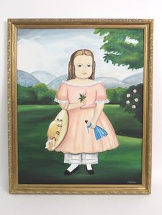 Primitive Folk Art Painting of Girl with Doll Flower Hat by Cindy Landi Signed