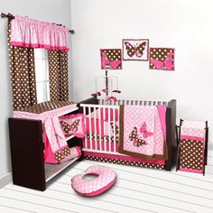 Bacati - 10pc Nursery-in-a-Bag Crib Bedding Set, Butterflies