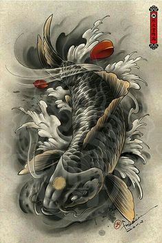 Hailin Tattoo, the tattoo studio of master tatoo artist Hailin Fu located in Hollywood, Los Angeles. Pez Koi Tattoo, Koi Tattoo Sleeve, Carp Tattoo, Japanese Koi Fish Tattoo, Koi Fish Drawing, Japanese Tattoo Designs, Dragon Koi Fish, Koi Dragon Tattoo, Koi Tattoo Design