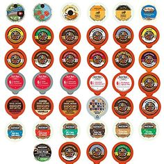 Flavored Coffee Recyclable Single Serve Cups For Keurig K Cup Pod Brewers Variety Pack Sampler, 40 Count