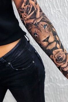[Top 29] Best Lion Tattoos for Women [2020] - Tattoos for Girls Lion And Rose Tattoo, Lion Tattoo With Flowers, Clock And Rose Tattoo, Female Lion Tattoo, Lion Tattoo On Finger, Lion Tattoo On Thigh, Lion Head Tattoos, Rose Tattoo Forearm, Flower Thigh Tattoos