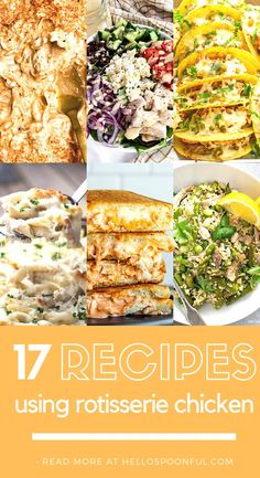 Looking for quick and easy weeknight meals to use with fresh or leftover rotisserie chicken? Look no further than these 17 creative recipes using storebought rotisserie chicken. In this rotisserie chicken recipe round-up, you will find salads, pasta, dips, tacos, pizza, and more! All of these recipes can be made using leftover chicken as well.