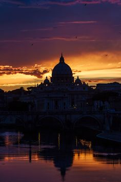 Sunset at Rome St Peters Basilica, Taj Mahal, My Photos, Villa, Wanderlust, Footprints, Rome Italy, Sunset, Building