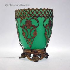 ANTIQUE FRENCH GREEN OPALINE GLASS ORMOLU CUP