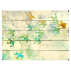 Celebrate naturally chic appeal with this eye-catching wall decor, featuring a flock of birds printed on planked wood. Place it in your parlor for a serene s...