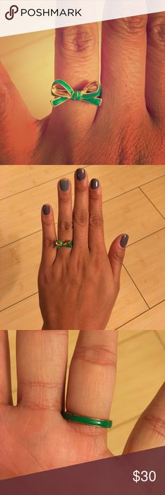 "kate spade green bow ring GUC. Kate spade green bow ring sz 6. Worn a handful of times. Cute and perfect for the subtle pop of color! Golden accents. Says ""kate spade ♠️ new york"" on the interior. Size 6 stamped on interior. No trades. kate spade Jewelry Rings"