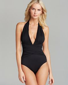 La Blanca Island Goddess Plunge Halter One Piece Swimsuit | Bloomingdale's