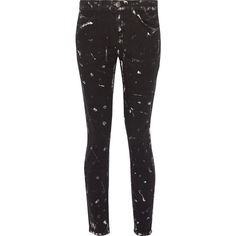 Current/Elliott - The Stiletto Paint-splattered Mid-rise Skinny Jeans ($87) ❤ liked on Polyvore featuring jeans, black, skinny jeans, paint splatter jeans, cowboy jeans, mid rise jeans and button-fly jeans