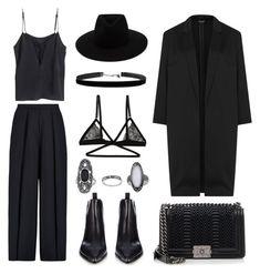 """Black"" by eva-jez ❤ liked on Polyvore featuring Iris & Ink, rag & bone, Acne Studios, Honeydew Intimates, Chanel, Topshop, black and allblack"