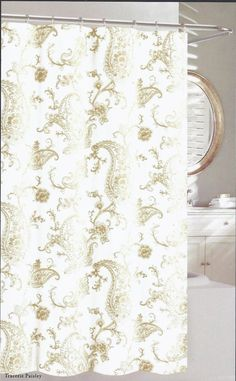 9be1e3824af New Nicole Miller Tracerie Intricate Gold Paisley Shower Curtain w Free  Hooks  NicoleMiller Paisley
