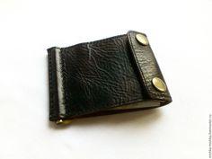 Купить Кошелек с зажимом из натуральной кожи - комбинированный, однотонный, кошелек, кошелек из кожи, зажим для денег