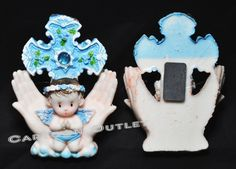 12 X Angelitos Bautizo Magnets Blue Cross Party Favors Baptism Nino Cruz Azul Dz