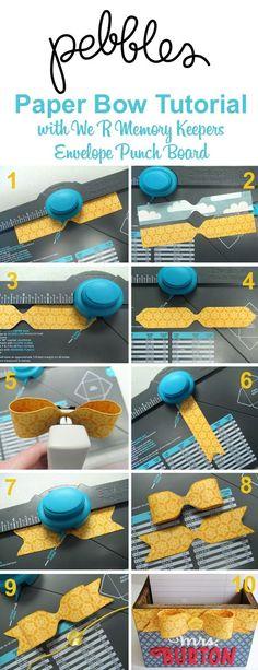 3D Bow Tutorial by Mendi Yoshikawa using Envelope Punch Board from @WeRMemoryKeepers @PebblesInc. @SnippetsByMendi:
