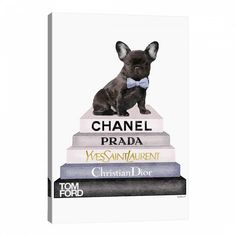 Redefine your living space with an exciting look by this iCanvas Bookstack Grey Pink White Black & French Bulldog by Amanda Greenwood Canvas Wall Art. Black French Bulldogs, French Bulldog Art, French Bulldog Puppies, Canvas Artwork, Canvas Art Prints, Canvas Wall Art, Framed Prints, Disney, Wrapped Canvas