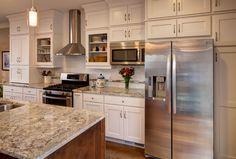 Cascade Maple Designer White XL crowncabinets.com Crown Cabinets, Condo Remodel, Kitchen Gallery, Home Remodeling, Kitchen Design, Kitchen Cabinets, Traditional, House, Range