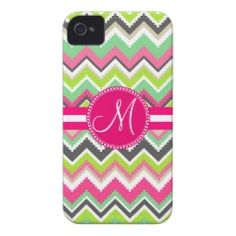 Best Selling Chevron Striped Monogram Hot Pink and Green iPhone 5 Case #prettypatterngifts #gifts #zazzle www.PrettyPatternGifts.com