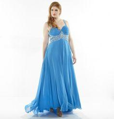 Light Sky Blue Straps Empire Chiffon Plus Size Prom Dress