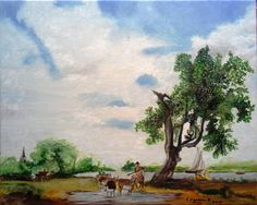 Elisa Figueroa paisaje campestre (réplica) 50x40 óleo