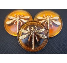 Cabochon  Brown with Gold Dragonfly