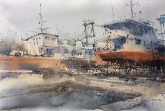 Direk Kingnok Watercolor artist   Shipyard in Phuket.