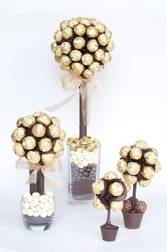 Personalised Ferrero Rocher® Sweet Tree by Sweet Trees, the perfect gift for Explore more unique gifts in our curated marketplace. Xmas Gifts, Valentine Gifts, Diy Gifts, Food Gifts, Candy Trees, Sweet Trees, Chocolate Bouquet, Candy Bouquet, 50th Wedding Anniversary