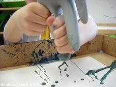 Painting with a rubber glove!  I'm sure this could somehow be wiggled into a challenge around milking ;)