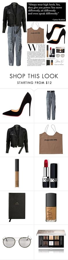 """""""leather jacket"""" by anabelisstyle ❤ liked on Polyvore featuring Christian Louboutin, Alyx, VIPARO, Christian Dior, Smythson, NARS Cosmetics, Cutler and Gross and Givenchy"""