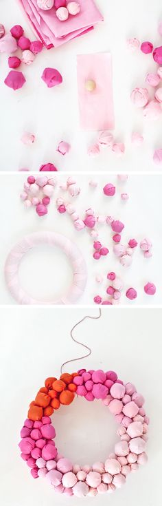 DIY fabric ball wreath