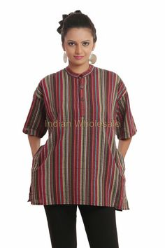 Indian Men Women Unisex Full Sleeves Cotton Brown Shirt Kurta T ...