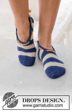 Crocheted slipper with stripes. Size 35-43. Piece is crocheted in DROPS Paris.