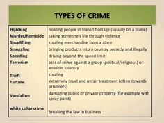 Types of Crime English Lessons, Learn English, Writing A Book, Writing Tips, Forensic Psychology, Forensic Science, Criminal Profiling, Types Of Crimes, Law Enforcement Jobs