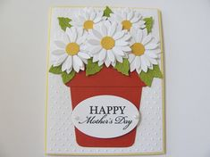 Mother's Day Cards, Mother Day Flower Pot Card, Mother's Day Card,Daisy Flower Cards, Handmade Mother's day Card, Mom Cards, Gift For Her
