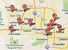 Cactus League Stadiums - Map of Arizona Spring Training Stadiums in Phoenix