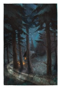 by Jordi Solano Wood Illustration, Forest, Illustration, Whimsical Art, Art, Night Art, Forest Illustration, Night Illustration, Fairytale Art