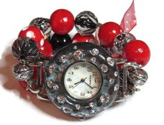 Red and Black Chunky Beaded Watch  Interchangeable by BeadsnTime