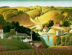 """My parents have this in their bathroom in a gold frame and I have always, always loved it.  It fits pretty much not at all with everything else I love, but I still think it's awesome.  Grant Wood, """"Stone City""""."""