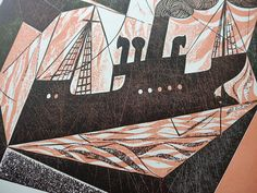 """Charles Shearer """"Block Ships"""" collograph (detail) http://www.stjudesprints.co.uk/collections/charles-shearer/products/block-ships"""