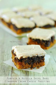 Pumpkin Nutella Swirl Bars Recipe via The Gunny Sack