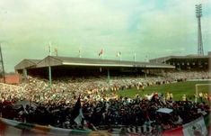 The Jungle as seen from the Celtic End during the Dundee match at the end of the Centenary season. A tad overcrowded that day. Celtic Images, Celtic Fc, Football Stadiums, Dundee, Glasgow, Old Photos, Old School, Dolores Park, History