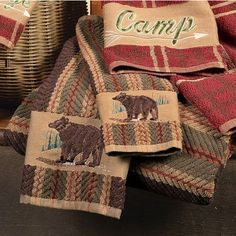 Bear Towel Set Collection ~ A bear in the forest is embroidered on the 100% cotton Bear Stripe Towel Set.