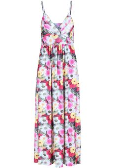 Red Spaghetti Strap Sleeveless Floral Maxi Dress 17.50