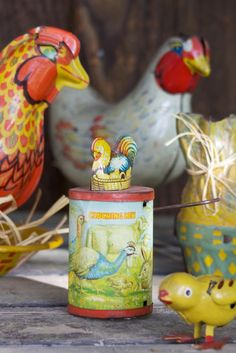Vintage chicken toys, from the Gourmandistan blog.