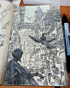 Daniele Turturici is a concept artist, illustrator, and cartoonist from Italy. For more view website Sketchbook Drawings, Cool Art Drawings, Sketching, Random Drawings, Sketchbook Pages, Sketchbook Ideas, Drawn Art, Art Diary, Sketchbook Inspiration