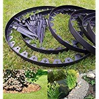 Creates a crisp defined separation Best4Garden No-Dig Recycled Lawn Edging Economy Safe and flexible plastic edging flowe Can be used to edge turf Black 60mm also can be shaped to any curves Straight Shape Easy installation with pegs supplied