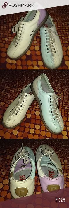 Camper Leather Shoes Made in Spain. Gently worn. The leather is very nice condition. Multiple color shoe. One shoe is tan, off white, mauve. The other shoe is light green, tan and off white. This is a pair of bowling shoes! Camper Shoes Athletic Shoes