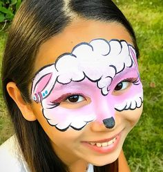 Pig Face Paint, Horse Face Paint, Easter Face Paint, Girl Face Painting, Face Paint Makeup, Face Painting Designs, Painting For Kids, Ink Painting, Sheep Face