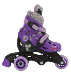 Disney Fairies 2 in 1 Convertible Skate, Size 6-9 by Bravo. $49.95. Great Disney Fairies graphics. Adjustable size range J6-J9. Adjustable trainer skate great for beginners. Converts from a trike skate to a inline skate. Designed for ages 3-6 years old. From the Manufacturer                Our 2 In 1 Convertible Skates are great for beginners. It easily converts from a trike skate to an inline skate. Designed for ages 3-6 years old and a junior 6-9 shoe size. Fun Disne...