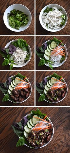 How to assemble (and cook) a bowl of Vietnamese grilled pork with rice vermicelli noodles  vegetables (Bún Thịt Nướng).  Recipe here: http://www.hungryhuy.com/bun-thit-nuong-recipe-vietnamese-grilled-bbq-pork-with-rice-vermicelli-vegetables/